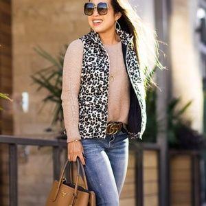 Ann Taylor Loft Cheetah Puffer Vest Large L 6Y